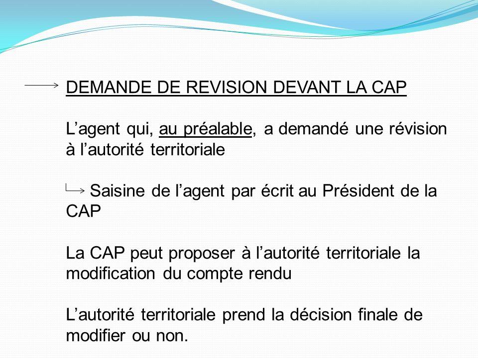 DEMANDE DE REVISION DEVANT LA CAP