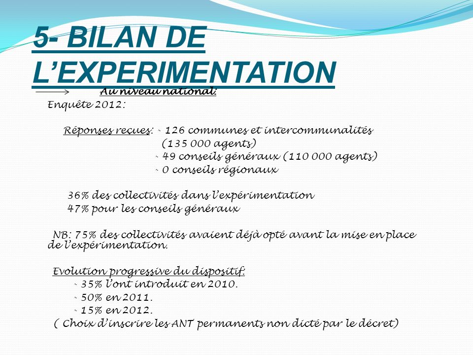 5- BILAN DE L'EXPERIMENTATION