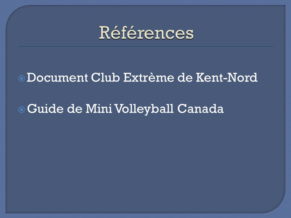 Références Document Club Extrème de Kent-Nord
