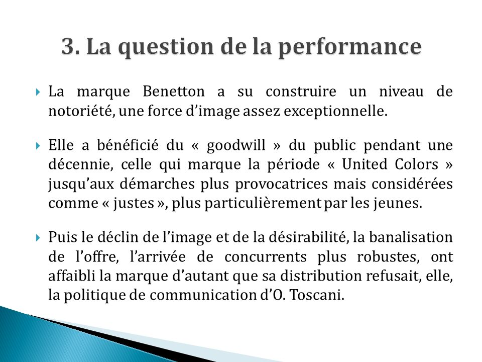 3. La question de la performance