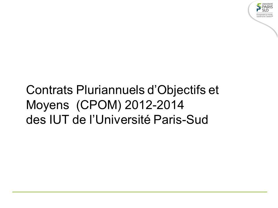 Contrats Pluriannuels d'Objectifs et Moyens (CPOM) 2012-2014 des IUT de l'Université Paris-Sud