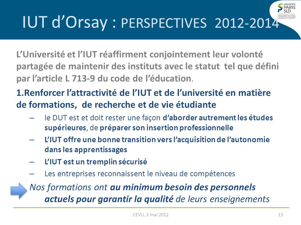 IUT d'Orsay : PERSPECTIVES 2012-2014