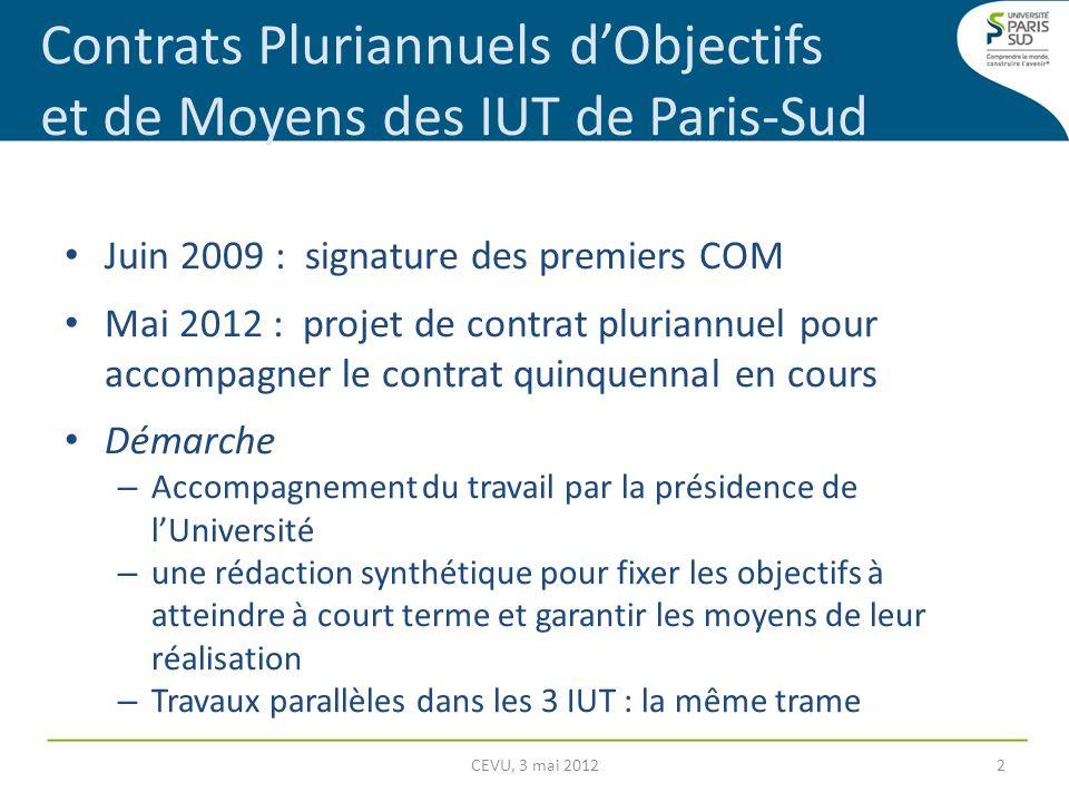 Contrats Pluriannuels d'Objectifs et de Moyens des IUT de Paris-Sud