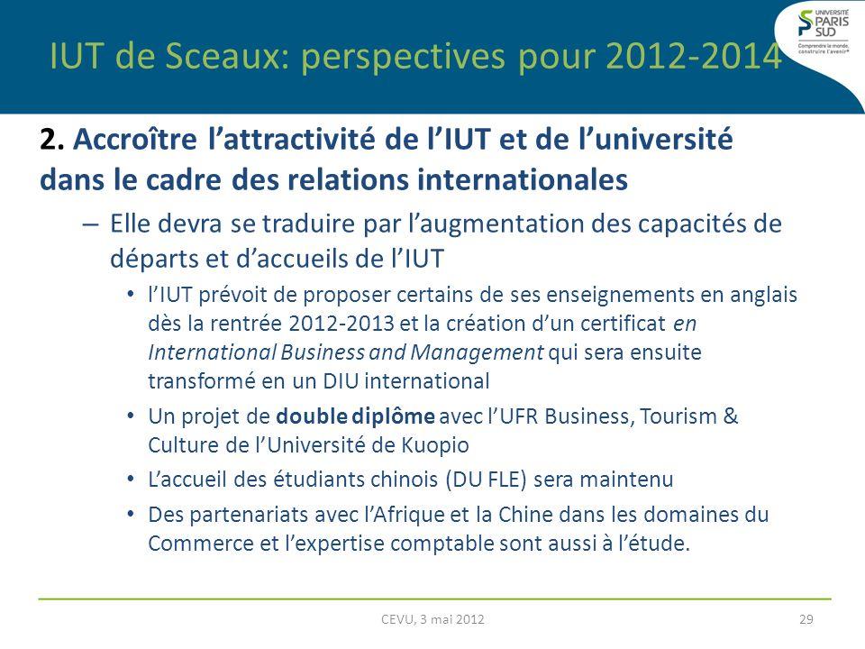 IUT de Sceaux: perspectives pour 2012-2014