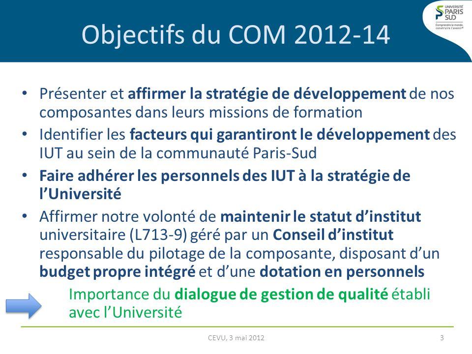 Objectifs du COM 2012-14 Présenter et affirmer la stratégie de développement de nos composantes dans leurs missions de formation.