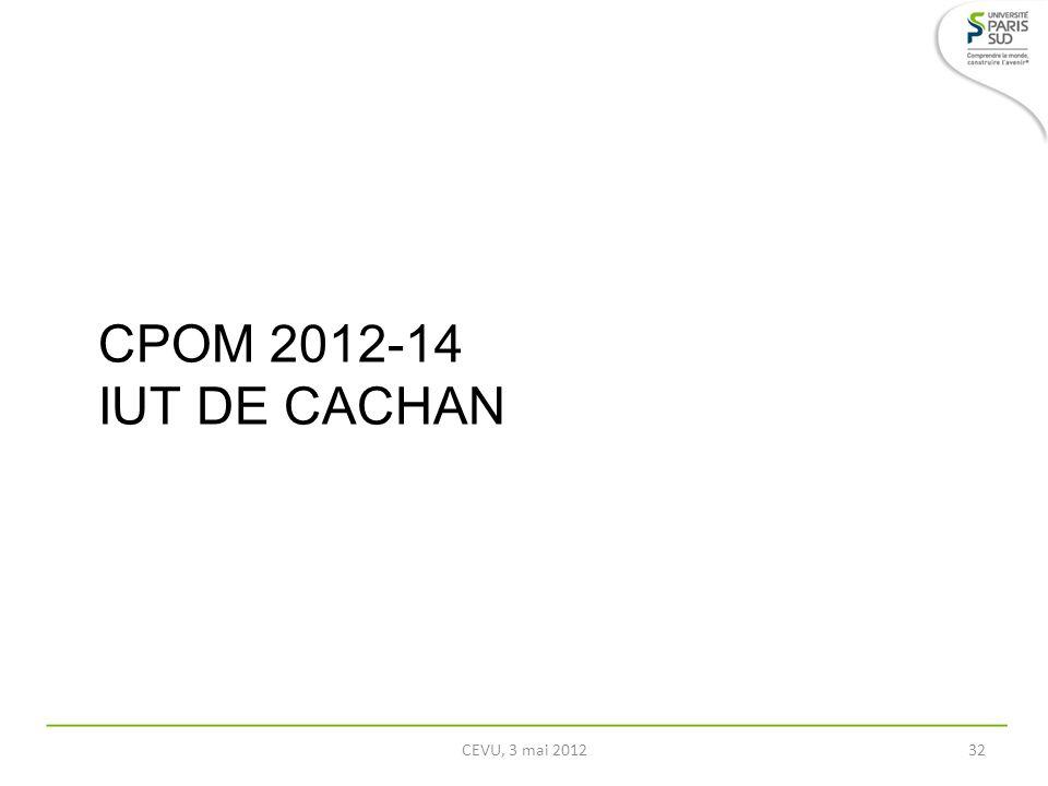CPOM 2012-14 IUT DE CACHAN CEVU, 3 mai 2012