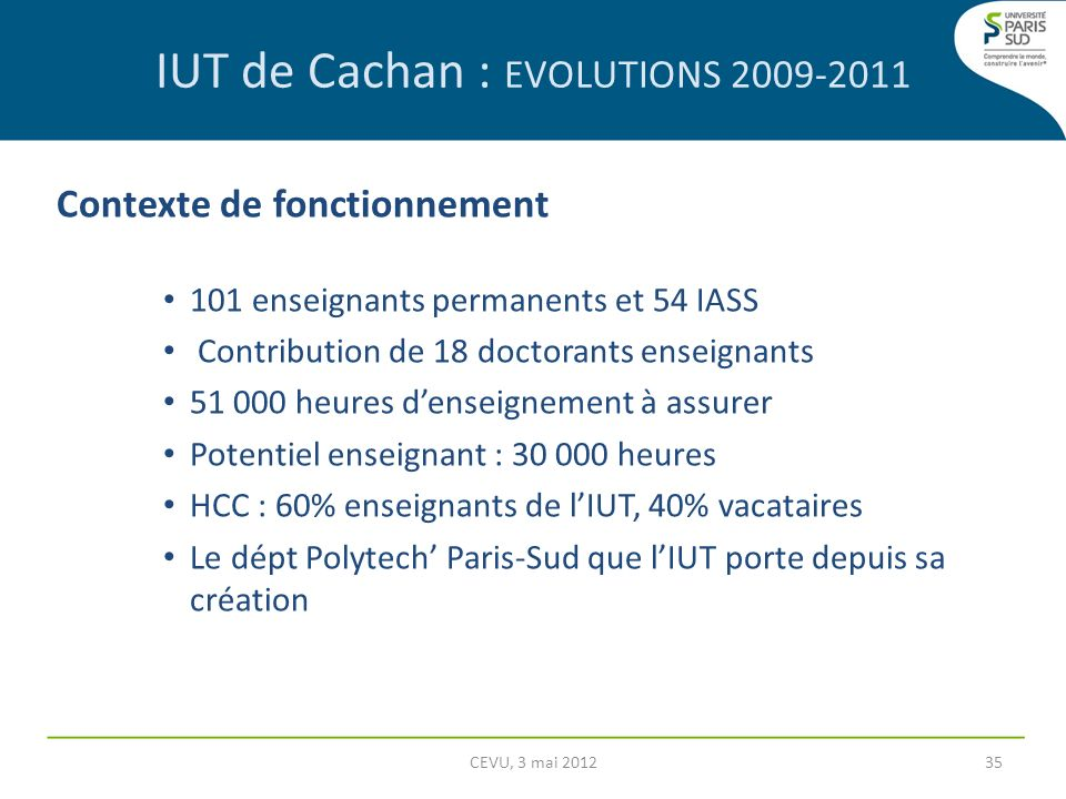 IUT de Cachan : EVOLUTIONS 2009-2011