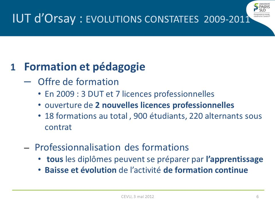 IUT d'Orsay : EVOLUTIONS CONSTATEES 2009-2011