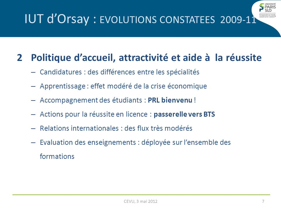 IUT d'Orsay : EVOLUTIONS CONSTATEES 2009-11