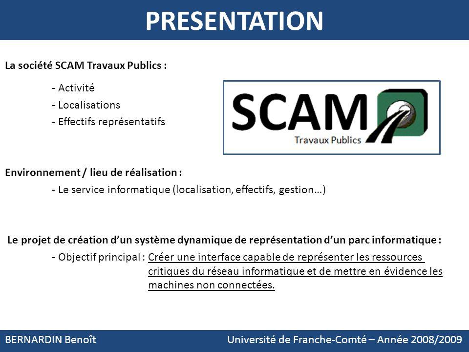 PRESENTATION La société SCAM Travaux Publics : - Activité