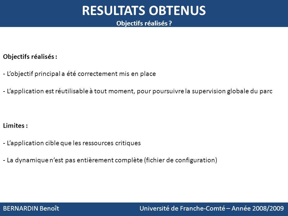 RESULTATS OBTENUS Objectifs réalisés