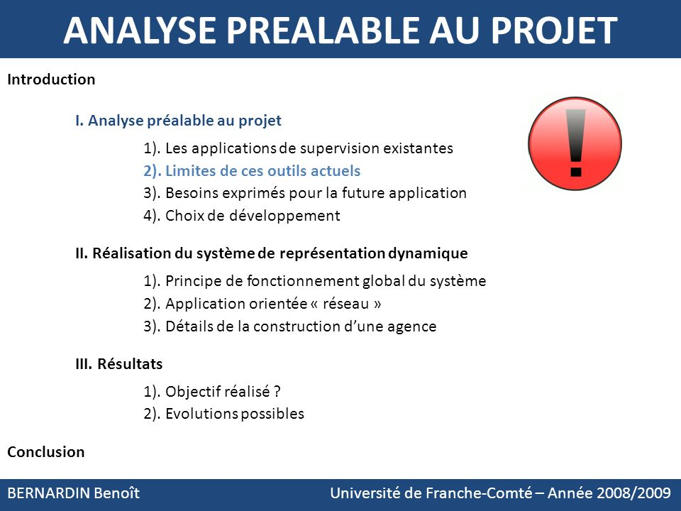 ANALYSE PREALABLE AU PROJET