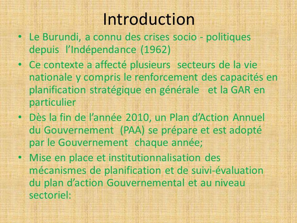 Introduction Le Burundi, a connu des crises socio - politiques depuis l'Indépendance (1962)