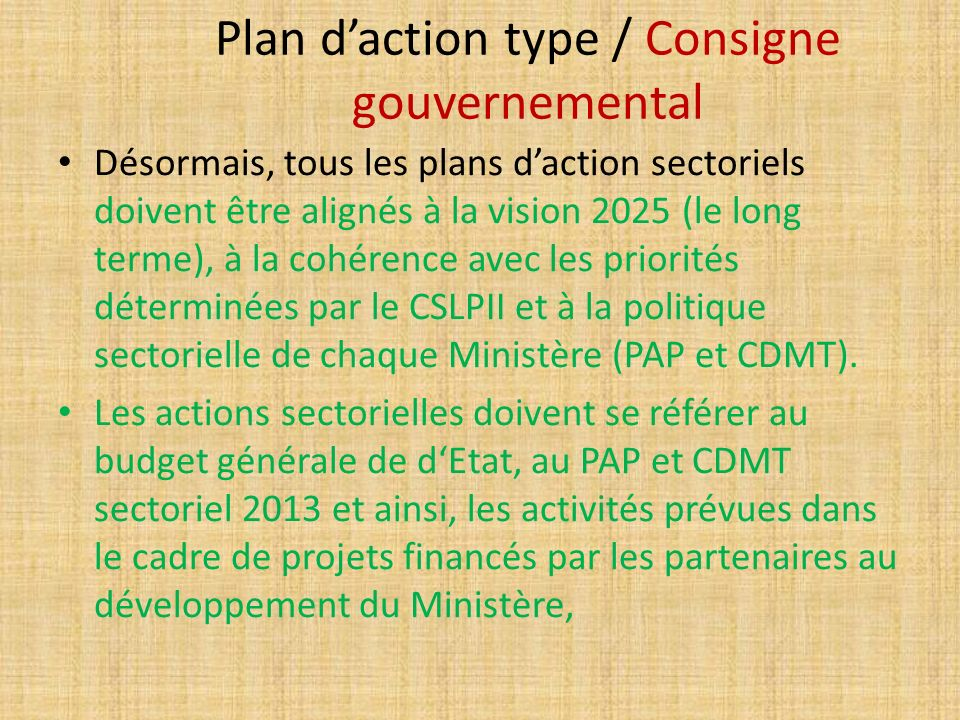 Plan d'action type / Consigne gouvernemental