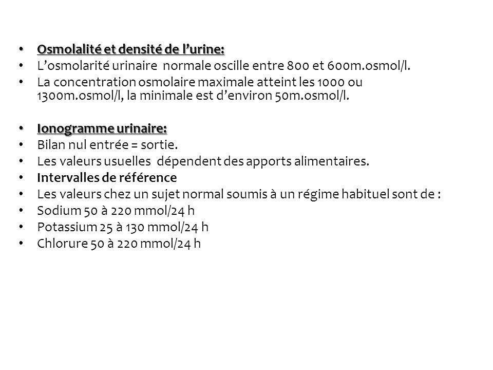 Osmolalité et densité de l'urine: