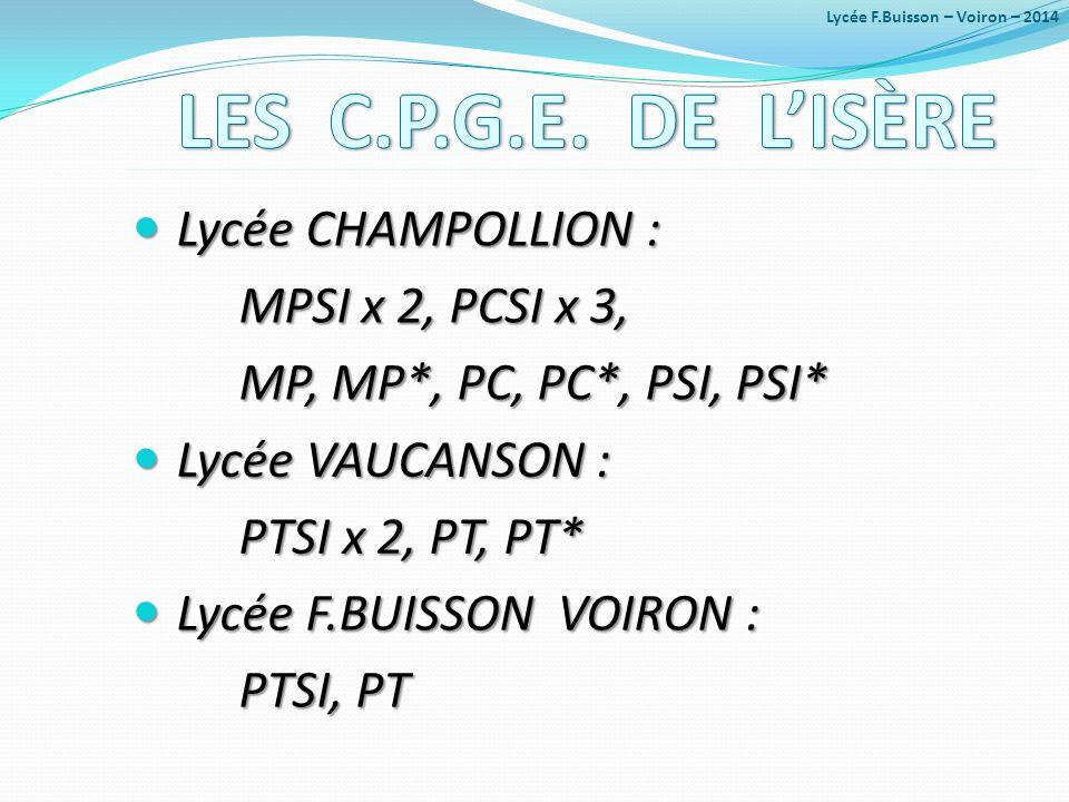 LES C.P.G.E. DE L'ISÈRE Lycée CHAMPOLLION : MPSI x 2, PCSI x 3,