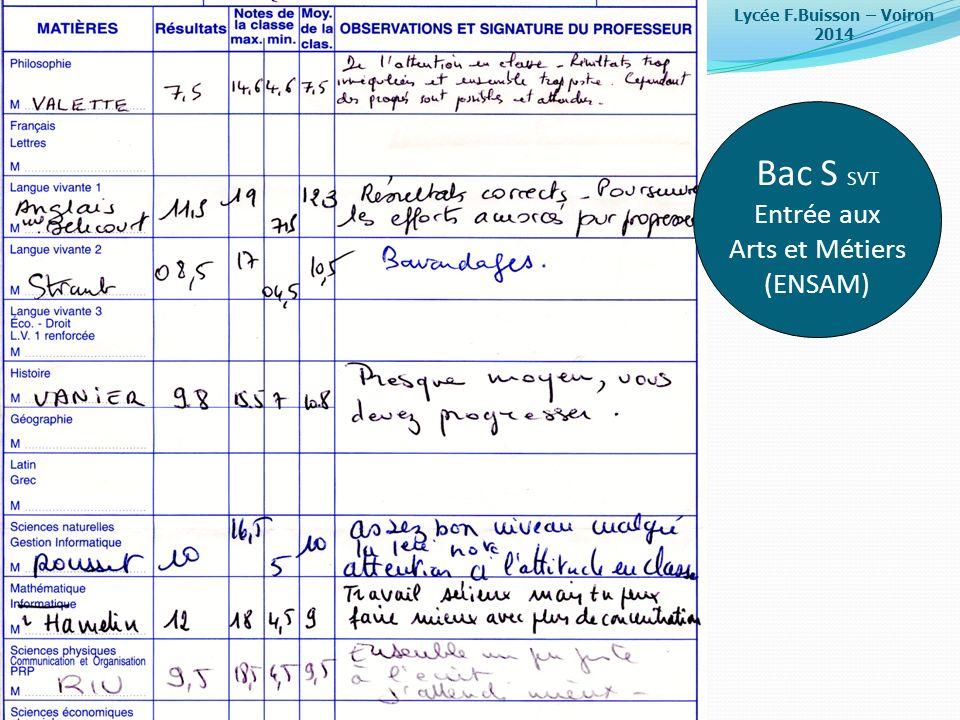 Bac S SVT Entrée aux Arts et Métiers (ENSAM)