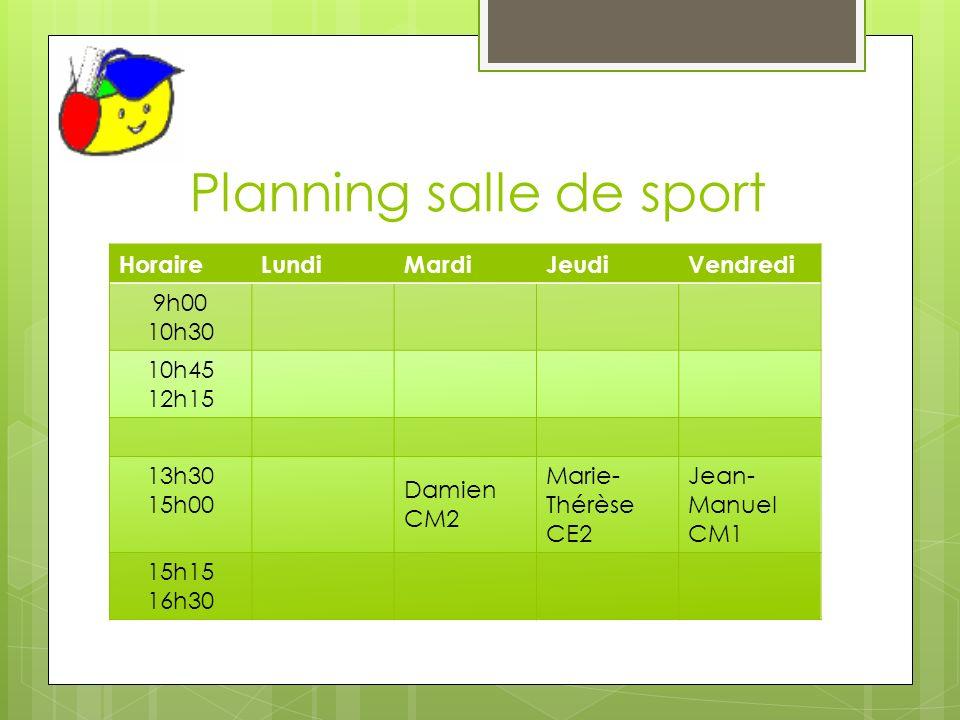 Planning salle de sport