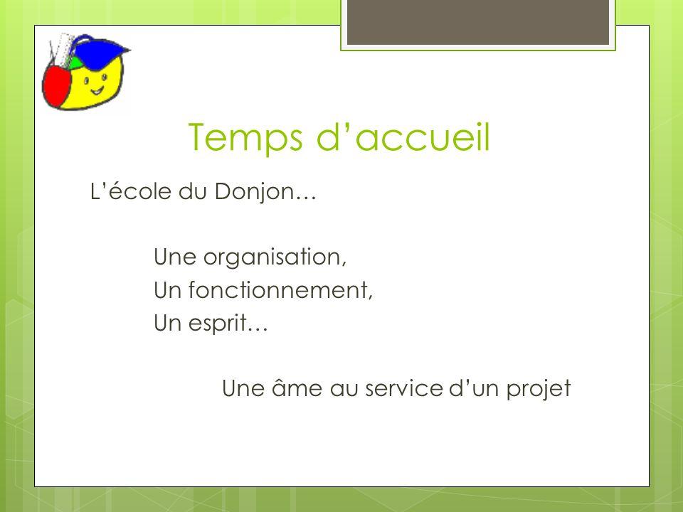 Temps d'accueil L'école du Donjon… Une organisation, Un fonctionnement, Un esprit… Une âme au service d'un projet