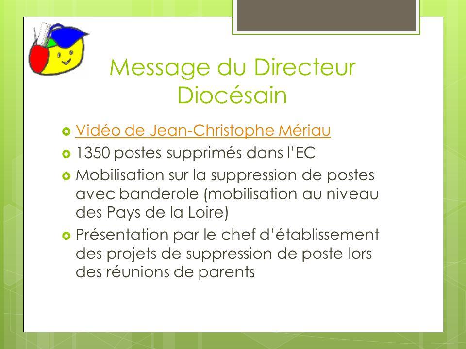 Message du Directeur Diocésain