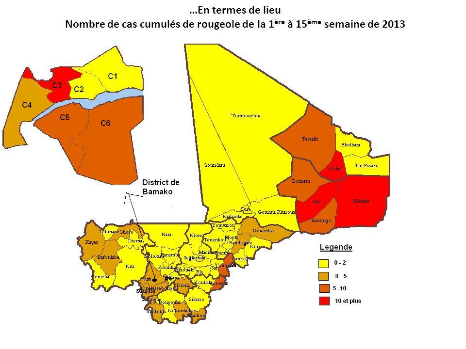 …En termes de lieu Nombre de cas cumulés de rougeole de la 1ère à 15ème semaine de 2013