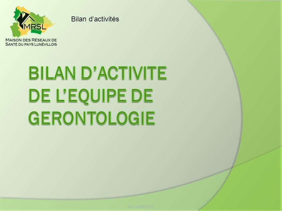 BILAN D'ACTIVITE DE L'EQUIPE DE GERONTOLOGIE