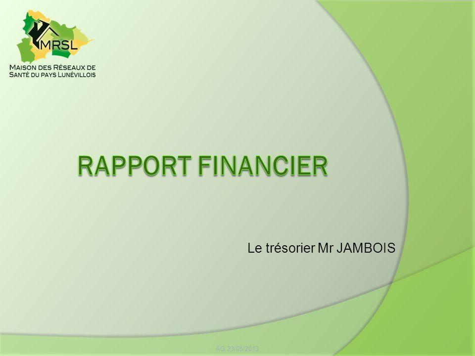 RAPPORT FINANCIER Le trésorier Mr JAMBOIS AG 23/05/2013
