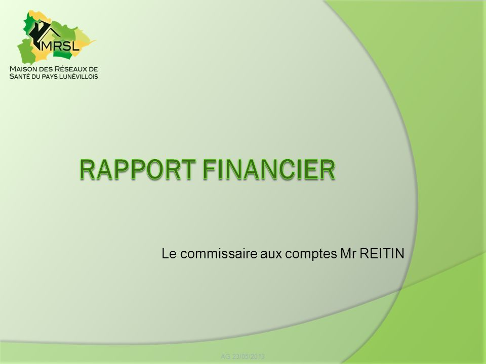 RAPPORT FINANCIER Le commissaire aux comptes Mr REITIN AG 23/05/2013