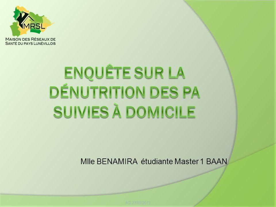 Enquête sur la dénutrition des pa suivies à domicile