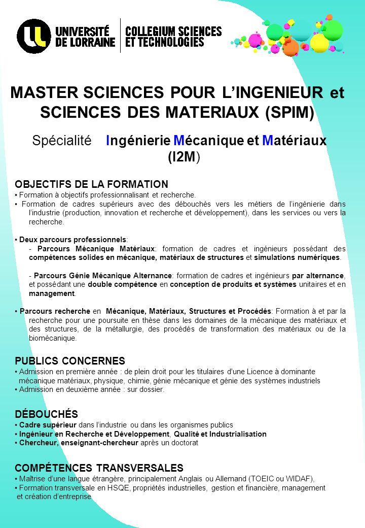 MASTER SCIENCES POUR L'INGENIEUR et SCIENCES DES MATERIAUX (SPIM)