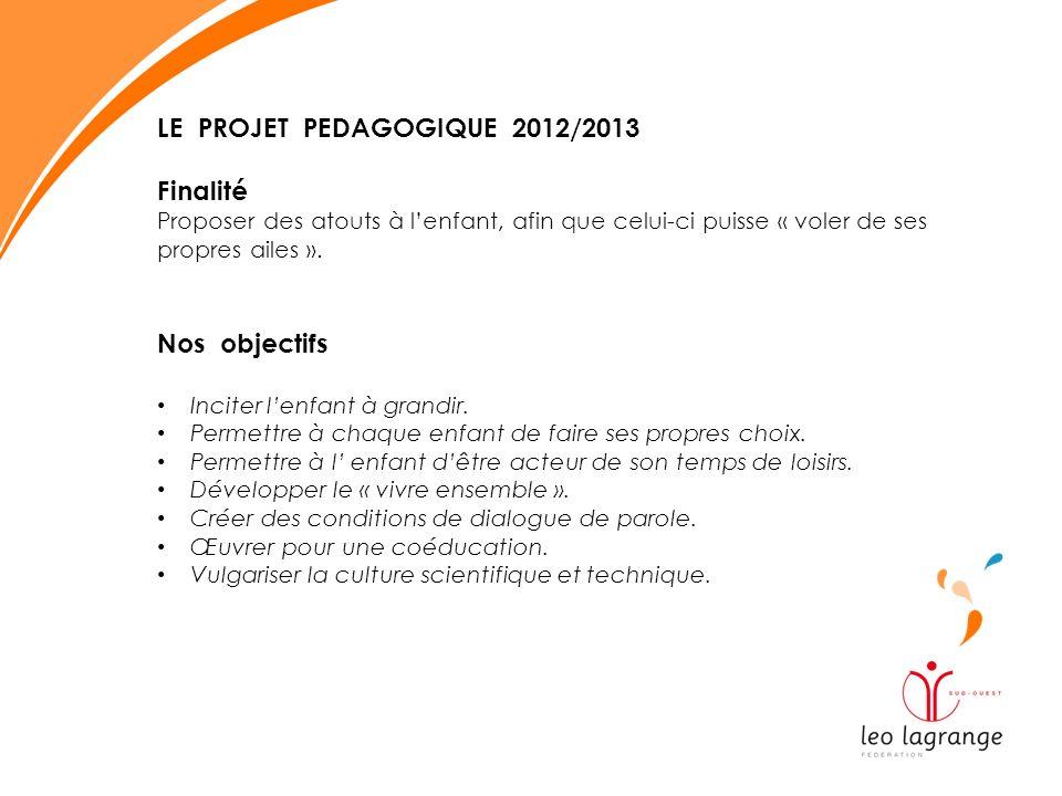 LE PROJET PEDAGOGIQUE 2012/2013 Finalité