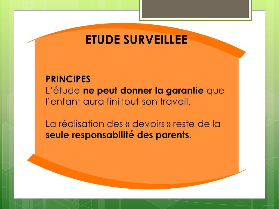 ETUDE SURVEILLEE PRINCIPES