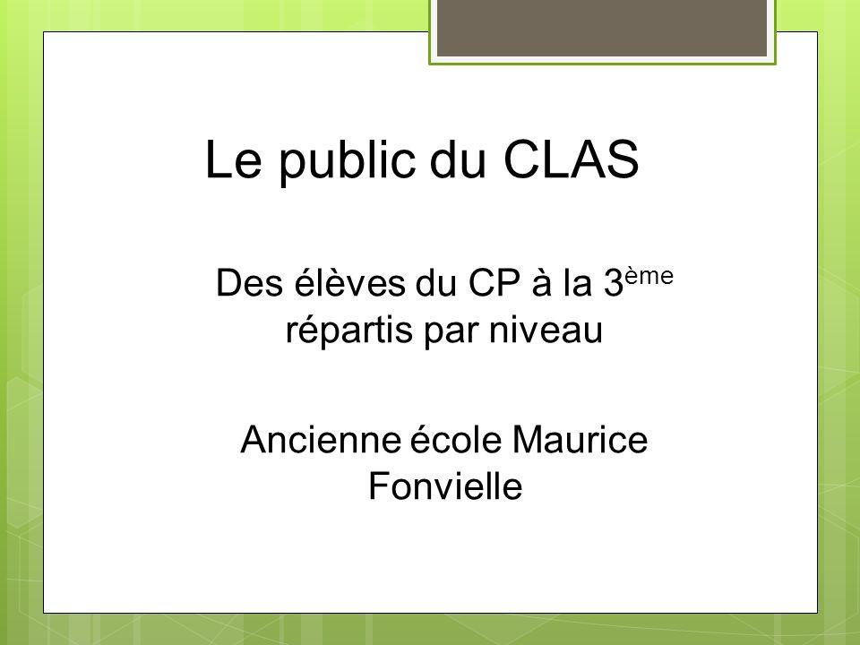 Le public du CLAS Des élèves du CP à la 3ème répartis par niveau
