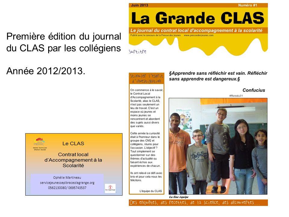 Première édition du journal du CLAS par les collégiens