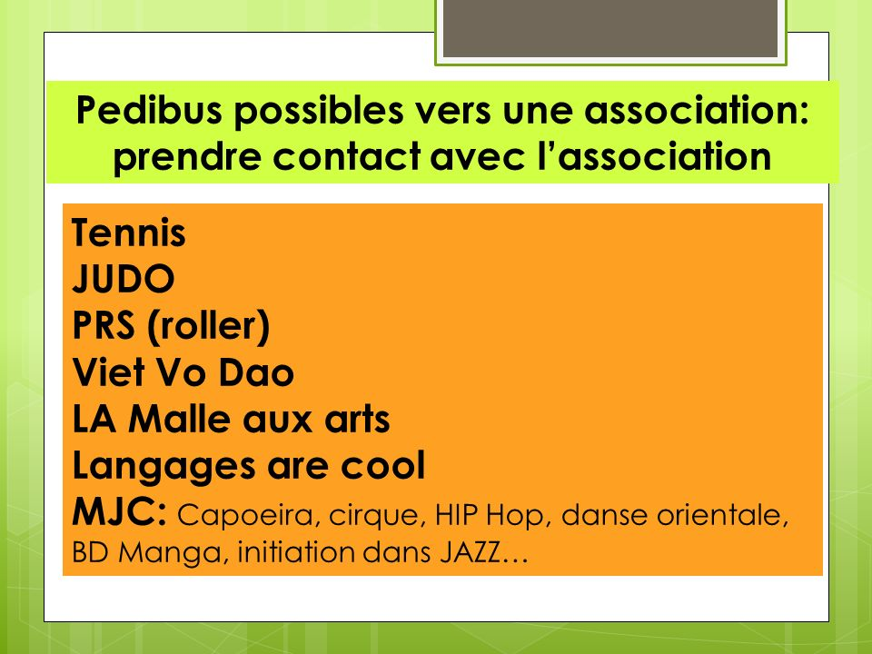 Pedibus possibles vers une association: