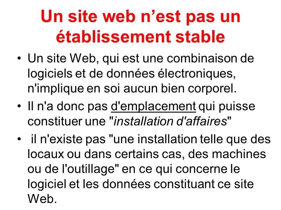 Un site web n'est pas un établissement stable