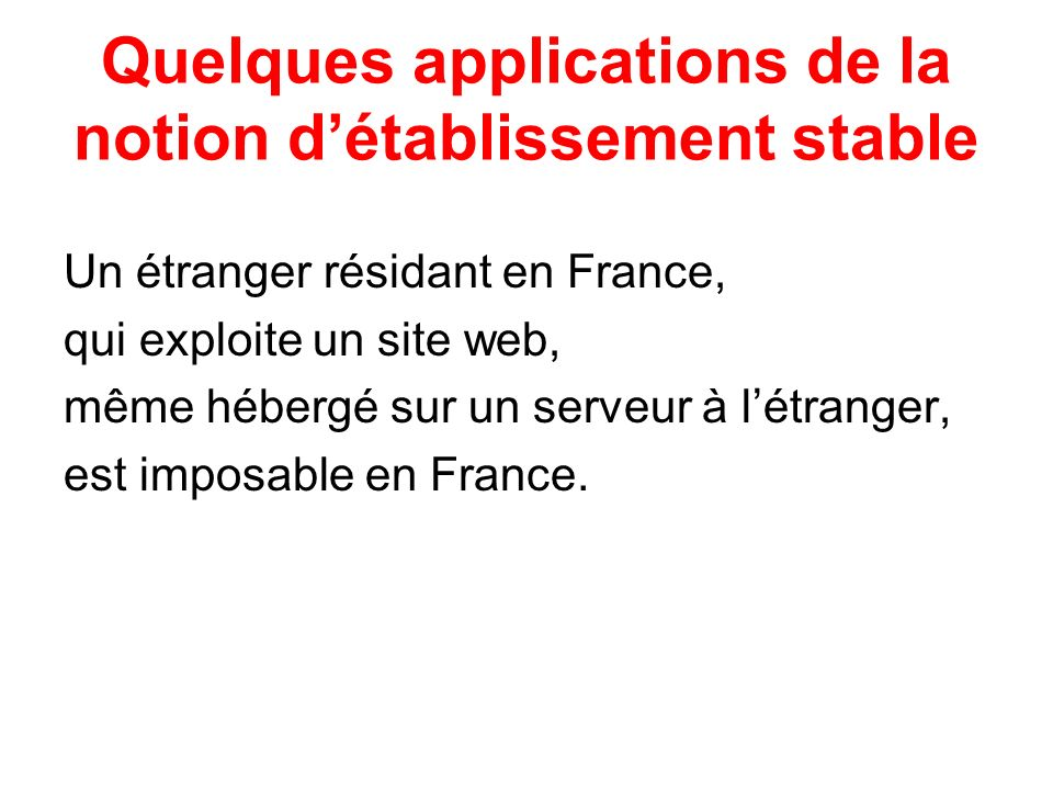 Quelques applications de la notion d'établissement stable