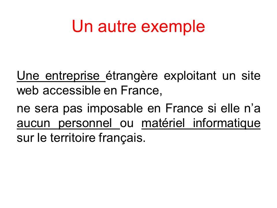 Un autre exemple Une entreprise étrangère exploitant un site web accessible en France,