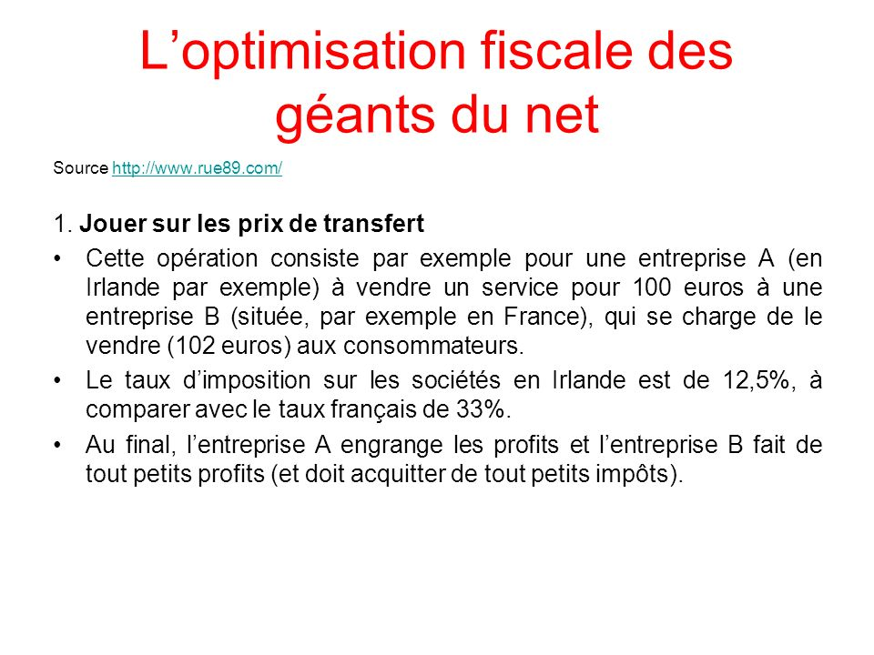L'optimisation fiscale des géants du net