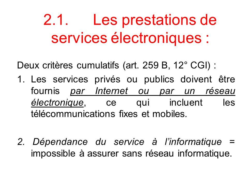 2.1. Les prestations de services électroniques :