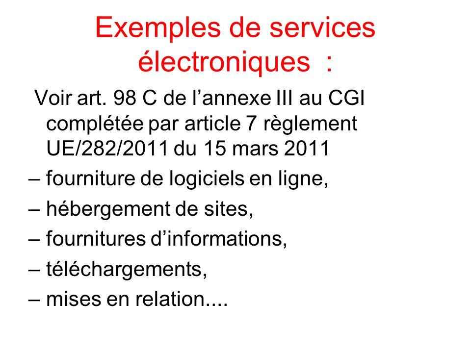 Exemples de services électroniques :
