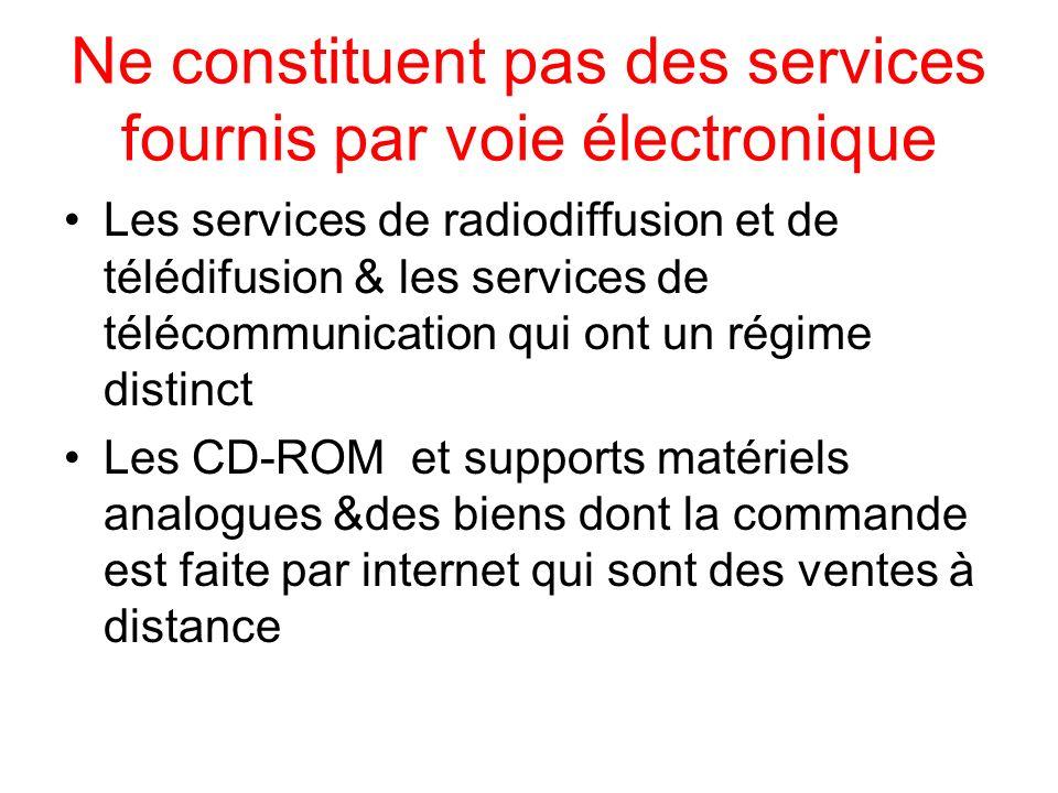 Ne constituent pas des services fournis par voie électronique