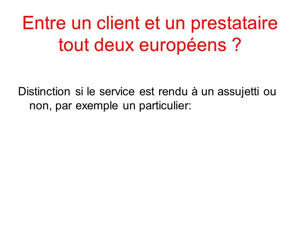 Entre un client et un prestataire tout deux européens