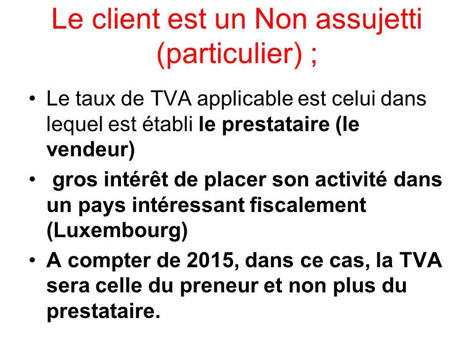 Le client est un Non assujetti (particulier) ;