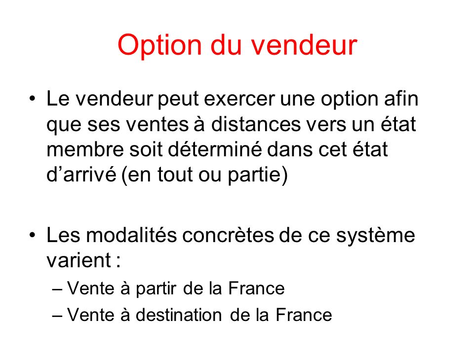 Option du vendeur