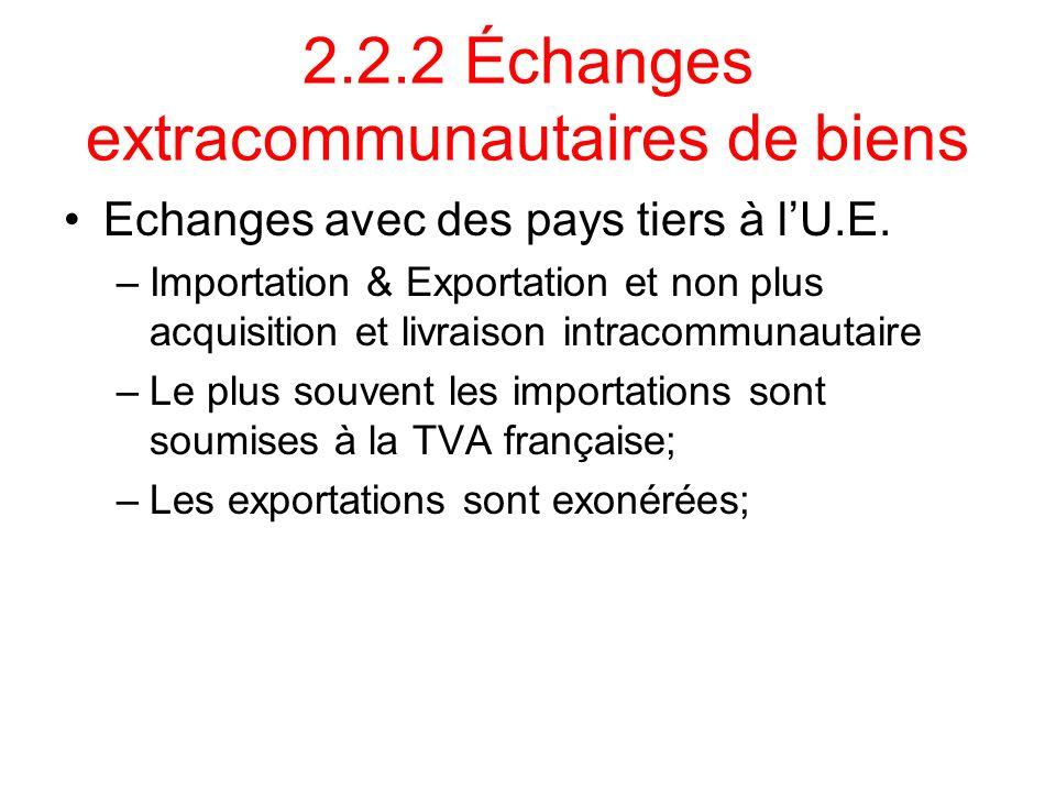2.2.2 Échanges extracommunautaires de biens