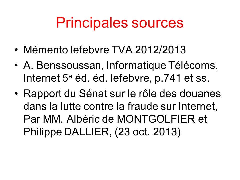 Principales sources Mémento lefebvre TVA 2012/2013