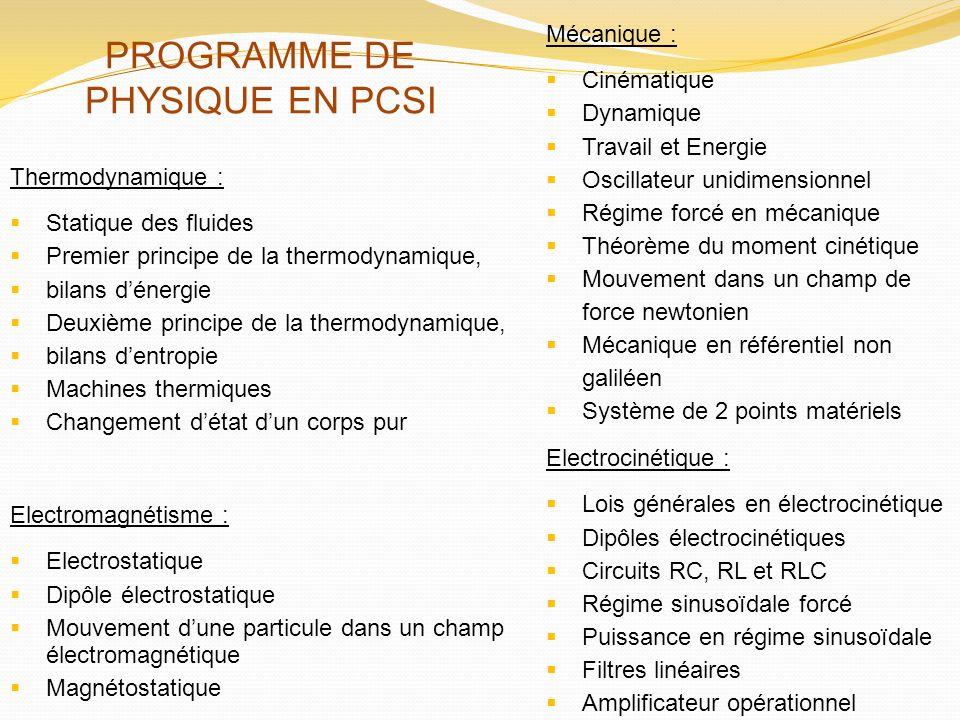 PROGRAMME DE PHYSIQUE EN PCSI
