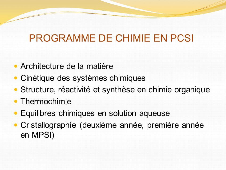 PROGRAMME DE CHIMIE EN PCSI