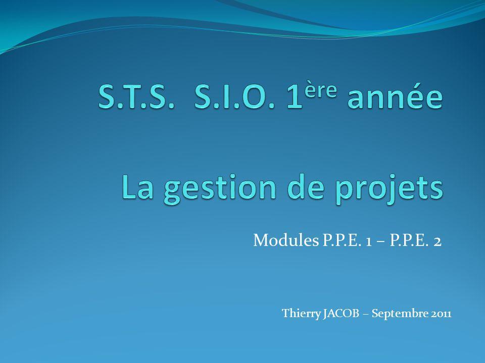 S.T.S. S.I.O. 1ère année La gestion de projets